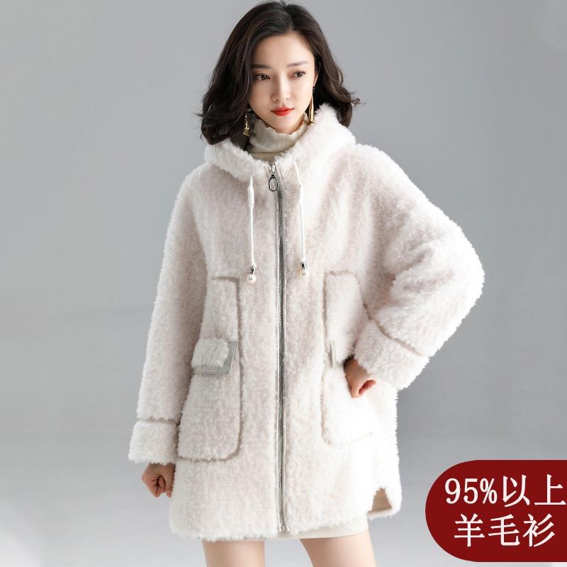 Real Fur overCoats Winter Jackets Women s long Waterproof lamb wool sheep shearing Fur hooded casual thick Warm 2019 white