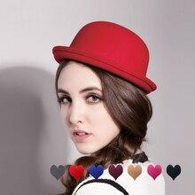 Women Hats Autumn Winter Vintage Fedoras Parent-child Imitation Wool Felt Top Hat Ladies British Fed