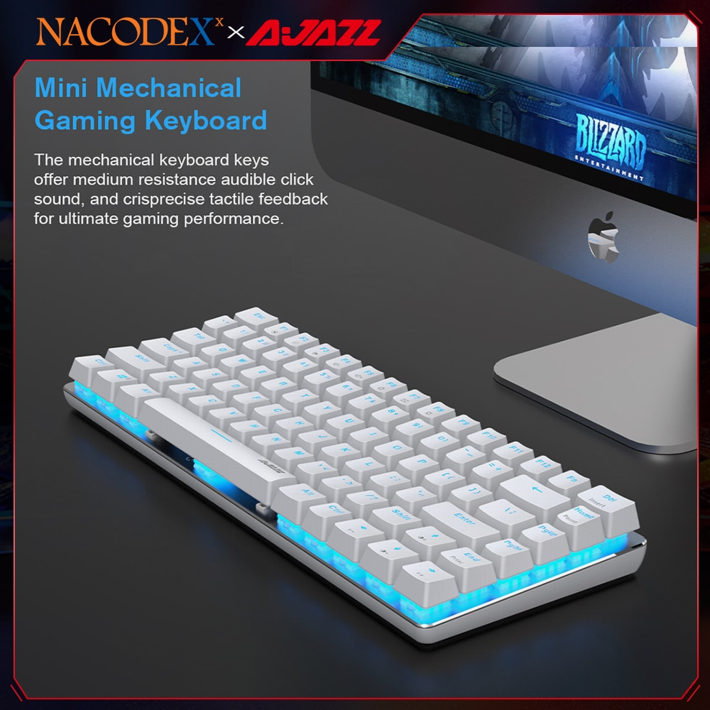 AJAZZ NACODE AK33 الميكانيكية الألعاب لوحة المفاتيح 82 مفاتيح السلكية لوحة المفاتيح للكمبيوتر ألعاب مريح بارد LED الخلفية تصميم