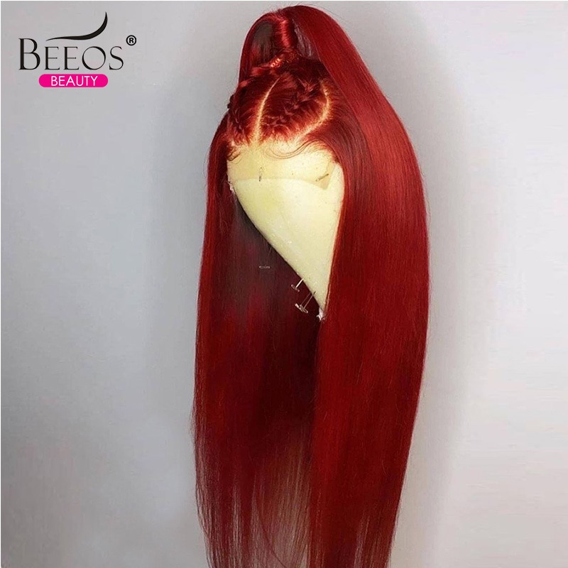 Straight Red Lace Front Human Hair Wigs 13x4 Lace Frontal Wig Remy Brazilian Human Hair Wigs for Women Preplucked With Baby Hair
