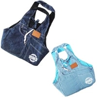 retail blue denim material free shipping pet dog sling hand carrier bag dogs carrier bag