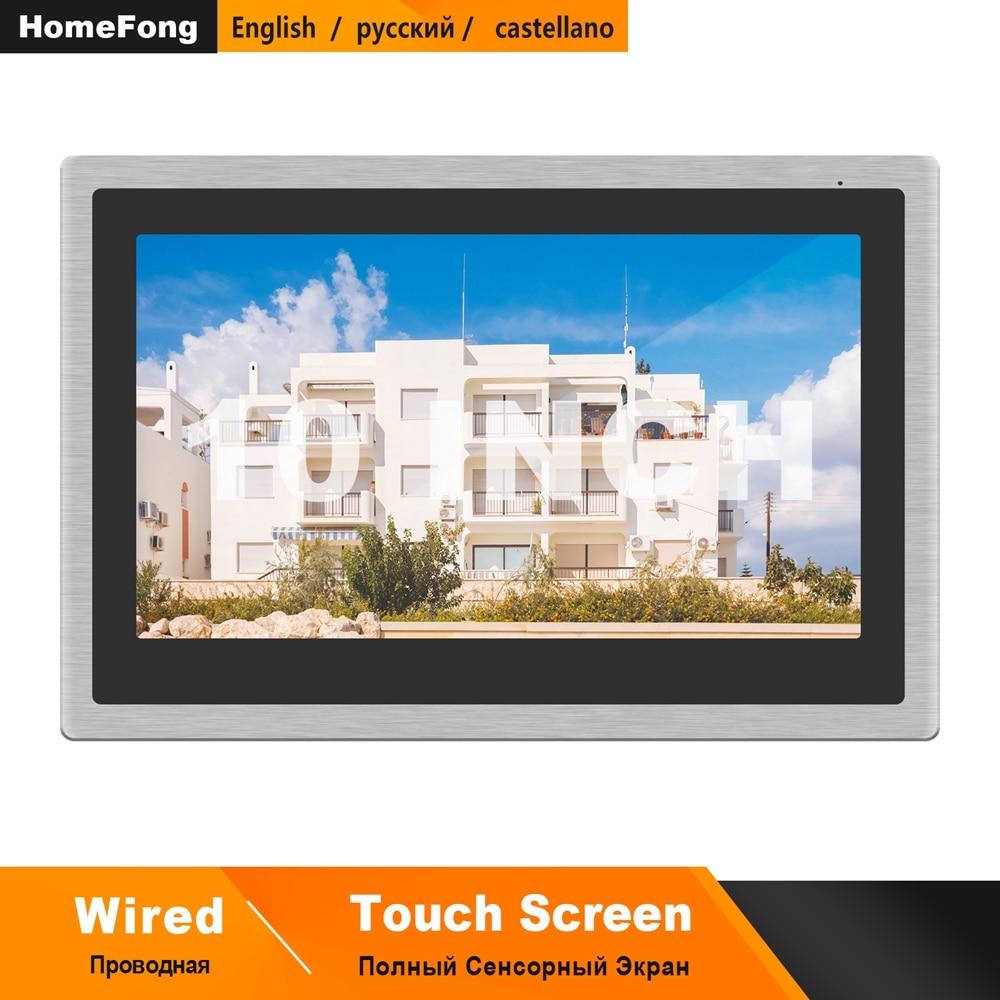 Homefong-هاتف فيديو سلكي بشاشة تعمل باللمس مقاس 10 بوصات وجرس باب AHD وكاميرا خارجية واكتشاف الحركة