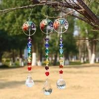 hanging crystal prism ball rainbow catcher life tree stone beads pendant craft chain window ornament home garden decoration