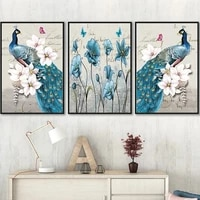 peacock canvas picture on the wall modern home decoration animals canvas poster bird paintings for interior frameless