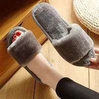womens plush slippers womens spring autumn and winter seasons indoor non slip floor slippers one word plush slippers women