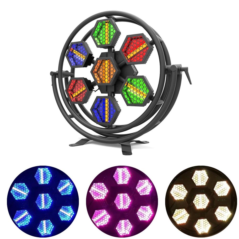 New7x60W LED كامل اللون ريترو ضوء فلاش RGBW 4IN1 DMX512 LED DJ ديسكو بار نادي الحفلات أضواء المرحلة تأثير ستروب فلاش الإضاءة