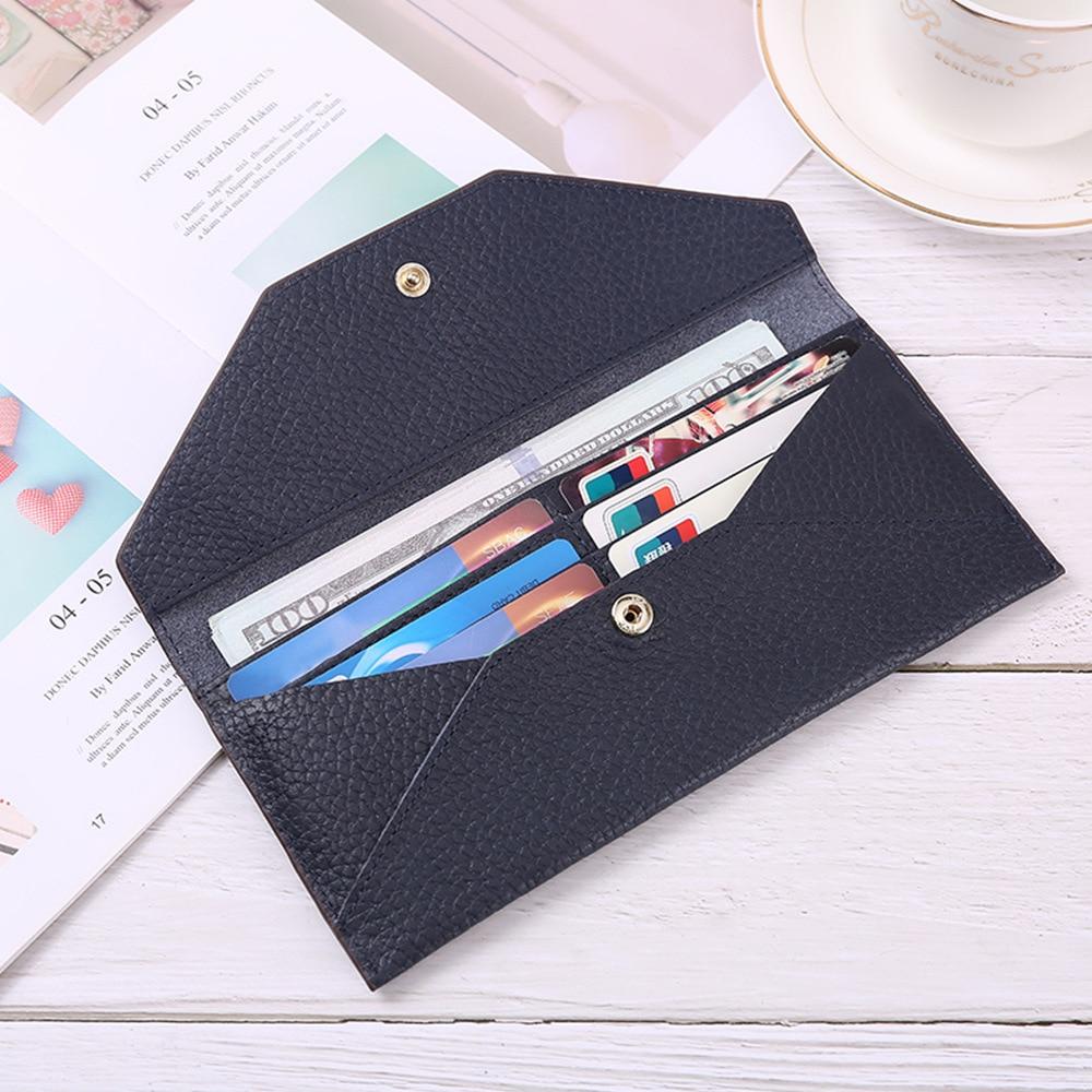 Envelope Clutch Bag Genuine Leather Long Wallets for Women Ultrathin Small Slim Clutch Wallet Soft Leather Card Holder Money Bag