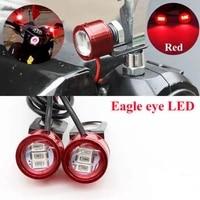 2pcs dc 12v motorcycle headlight rearview mirror eagle eye red 3led flash strobe light led gw250 highlight spotlight