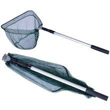 Télescopique appâts de pêche filet piège tige poignée Durable en Nylon maille en alliage daluminium Triangle pliant filet filet de poisson filet dimmersion nouveau