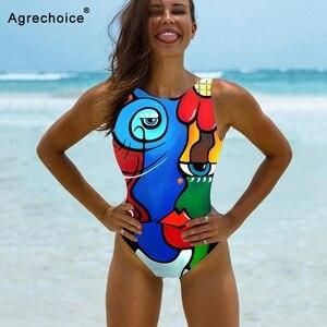 Print One Piece Swimsuit Women 2021 New Sexy High Neck Swimwear Female Bodysuit Push Up Monokini Bathing Suits Summer Beach Wear