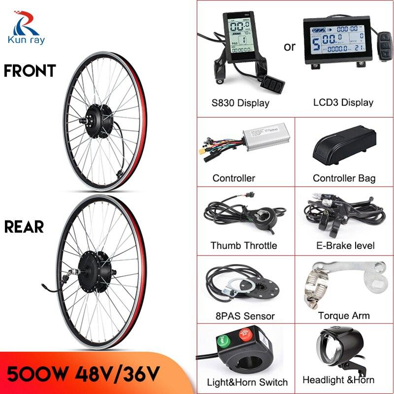 Kunray Motor Wheel 500W Electric Bicycle Kit 48V ebike Conversion Kit 36V Ebike Kit Hub Motor Wheel Electric Bike Conversion kit
