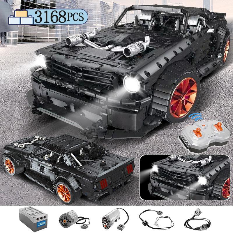 3168 stücke MOC RC/nicht-RC Ford Mustang Hoonicorn RTR V2 Gebäude Block Für Technik Racing Stadt Auto led Ziegel Spielzeug für Kinder