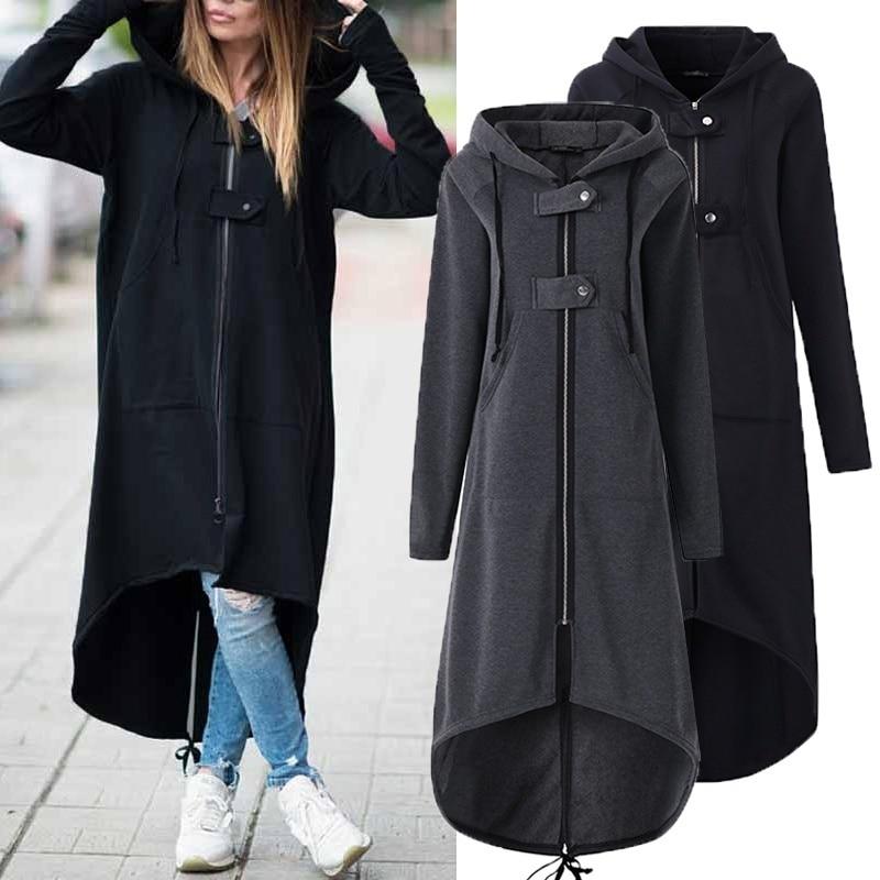 Gabardina con capucha de manga larga para mujer 2018 otoño negro con cremallera talla grande 5XL abrigo largo de terciopelo para mujer