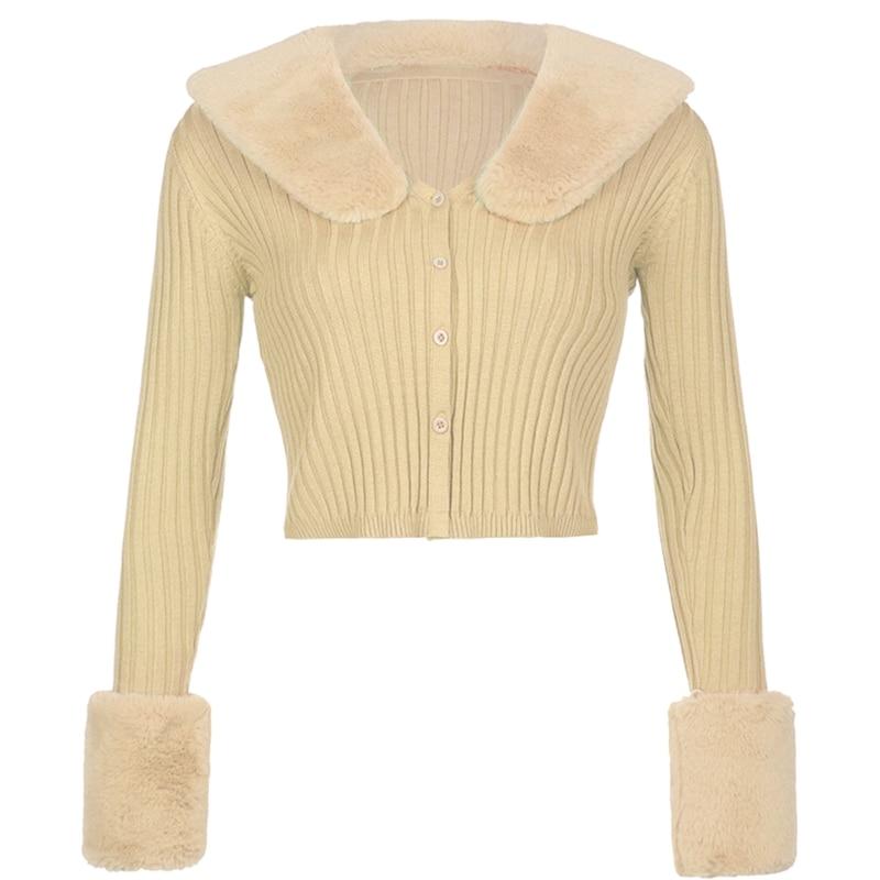 Women Long Sleeve Knit Cardigan Fluffy Plush Lapel Collar Button Cropped Sweater enlarge