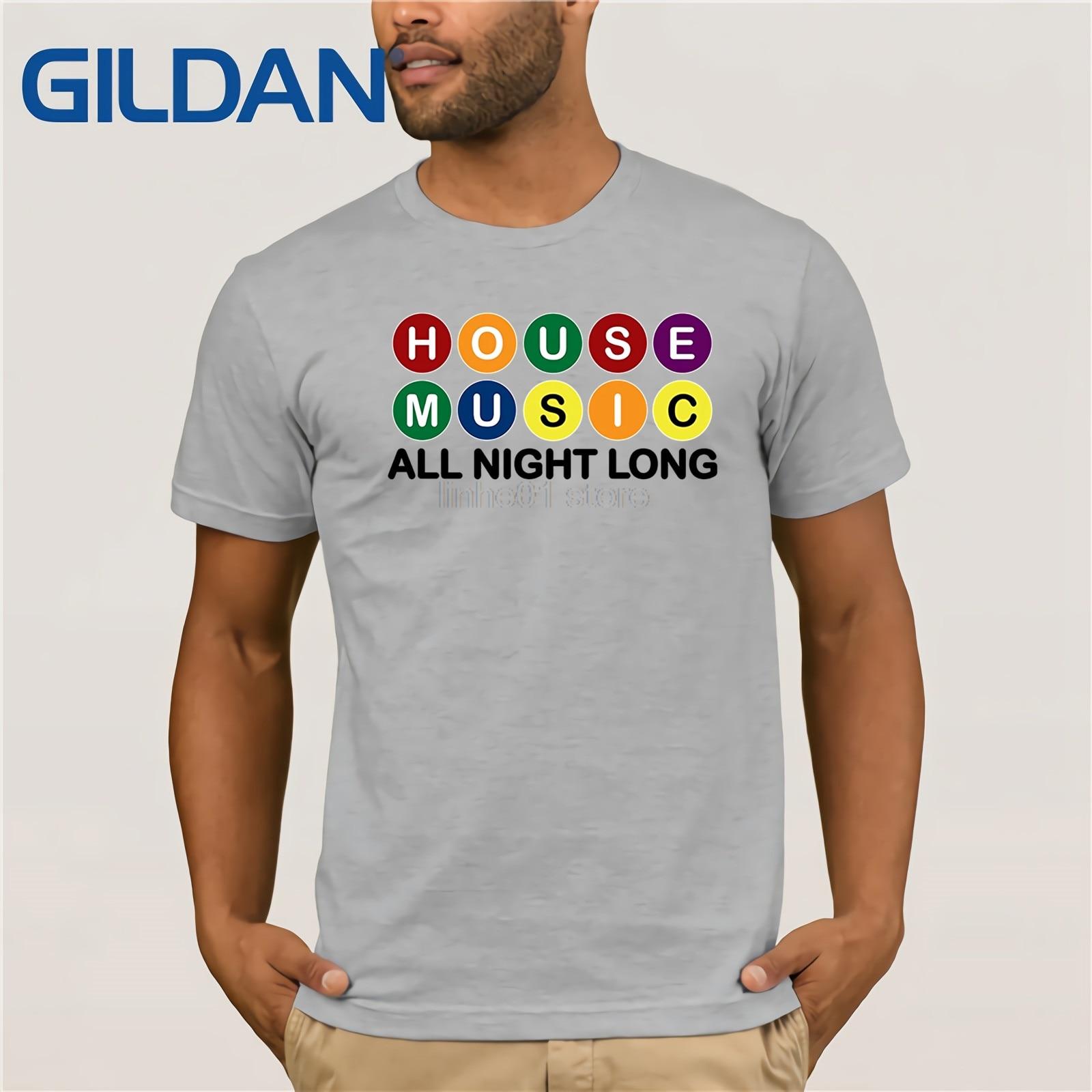 House Music All Night Long Música DJ EDM Tshirt T-shirt T-shirt do verão dos homens Quentes