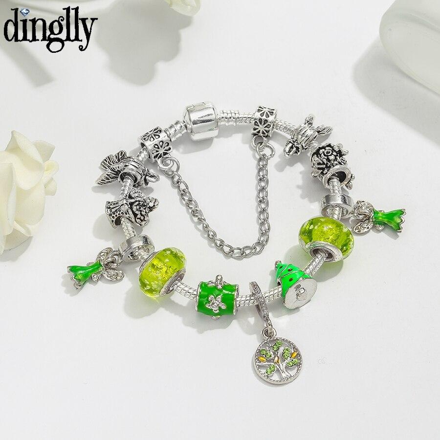 Dinglly pulseras de encanto de jardín de ala verde para mujeres niñas Original mariposa flor nuevos con cuentas brazalete regalo de joyas de fiesta