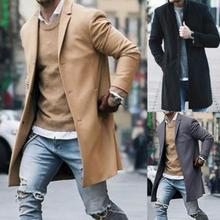 Fashion Men Trench Winter Solid Color Trench Coat Outwear Overcoat Long Sleeve Jacket trench coat me