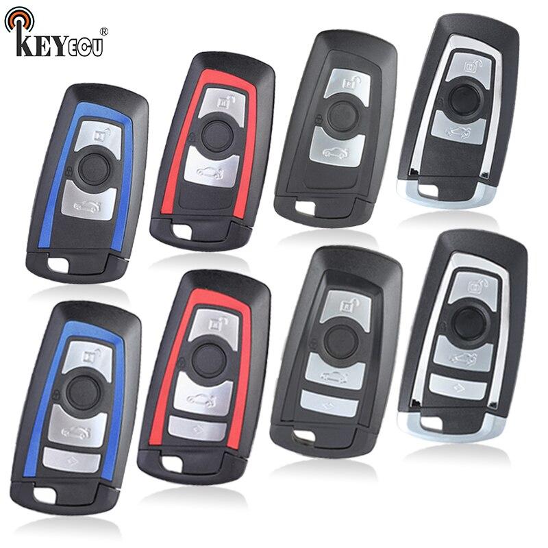 Keyecu Voor Bmw Nieuwe CAS4 5 7/ 5 Serie 550i Gt X3 535i 528i Vervanging Smart Remote Autosleutel shell Case Fob 3/4 Knop Met Blade
