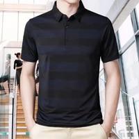 men t shirt ice silk turn down collar summer short sleeve striped slim shirt top for business