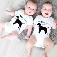 My Big Borther/sister Is A Dog New Summer Newborn Baby Boys Girls Short Sleeve Letter Print Cute Rom