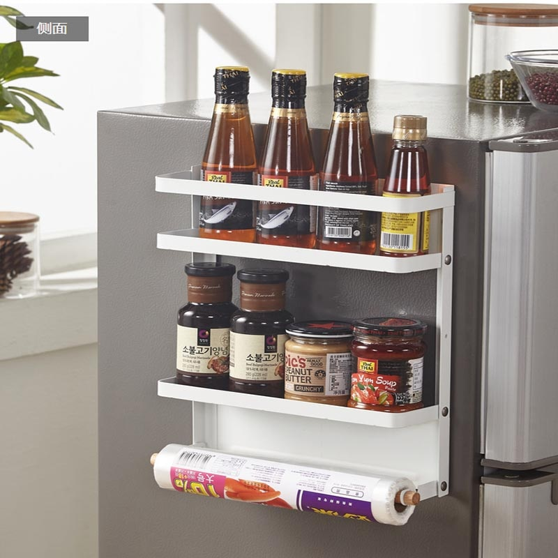 Side-mounted Magnet Refrigerator Rack Japanese Style Kitchen Towel Spice Bottle Storage Hanging Rack Bathroom Shelf Organizer
