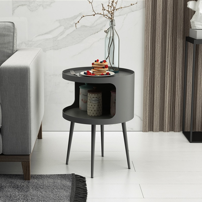 Круглый маленький столик для хранения, железный журнальный столик, ночная тумбочка для спальни, прикроватный столик для гостиной, Диванный ...