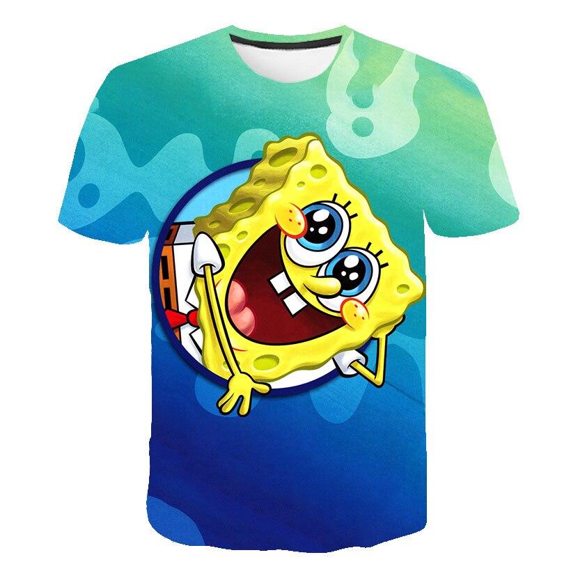 Spongebob sweetpants tshirt 3d harajuku criança camisa de manga curta camiseta menino e menina streetwear meninos e meninas topos