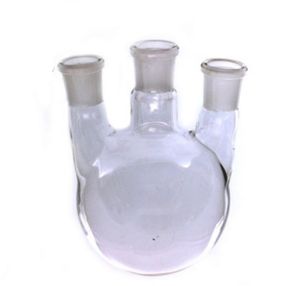 2000 ml, 24/29*3,3-Cuello, matraz de Vidrio recto de fondo redondo, frascos de ebullición de laboratorio, cristalería de laboratorio de tres cuello