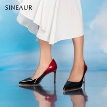 SINEAUR  Shoes for women 2021 Female Super High-heel 8.5CM Gradient Ramp Ladies Thin Heels Pointed T