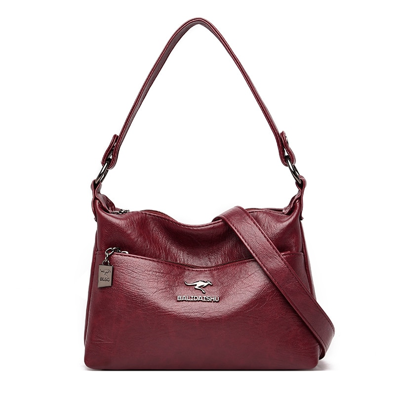 Fashion Casual Shoulder Bags for Women 2021 High Quality Solid Color Pu Leather Waterproof Multifunc