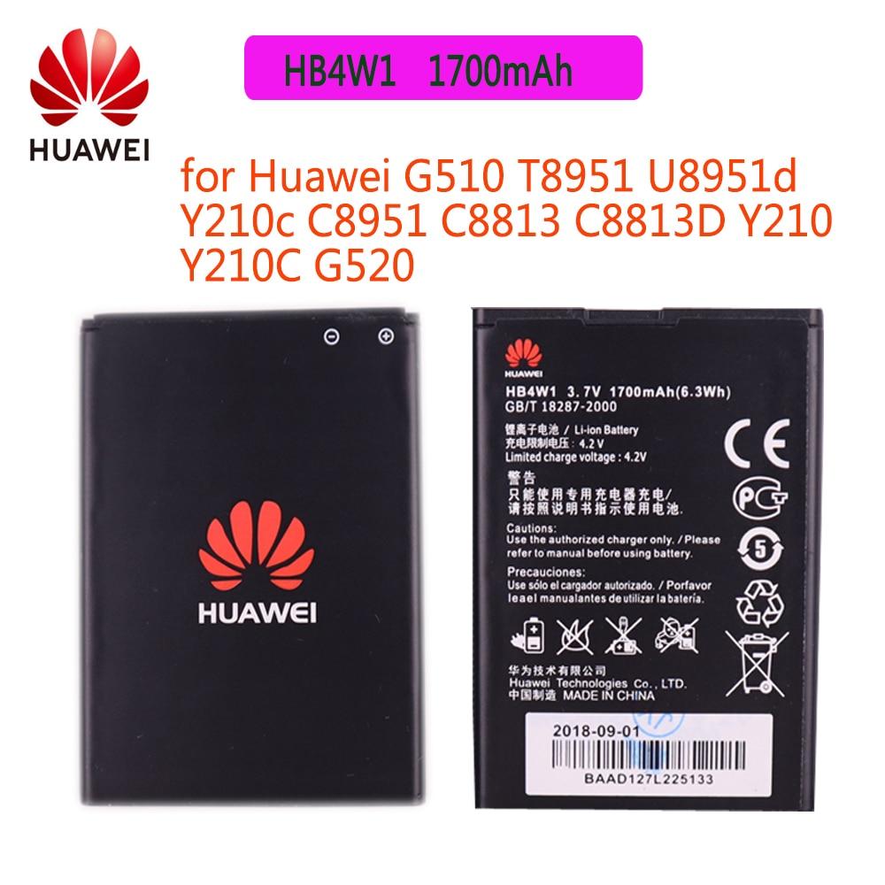 Batería Original HB4W1 para Huawei Y3 II A199 G700 Ascend G510 G520 G525 Y210 Y530 C8813 C8813Q C8813D T8951 1700mAh