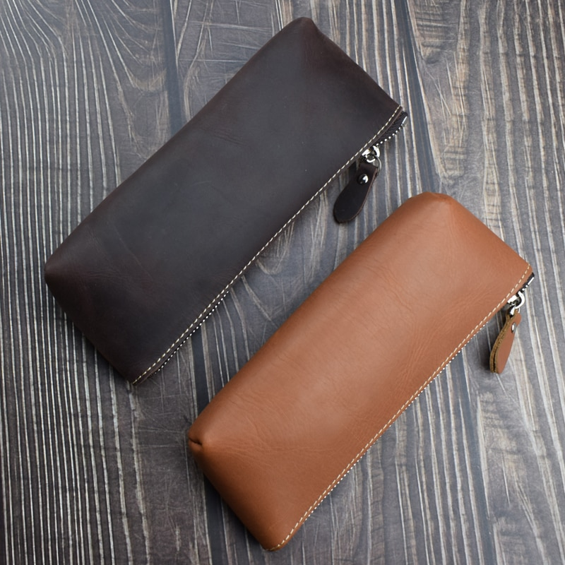 Retro Leather Pencil Cases High Capacity Business Pencil Case Office School Pen Pouch Writing Materials Pencilcase Stationery