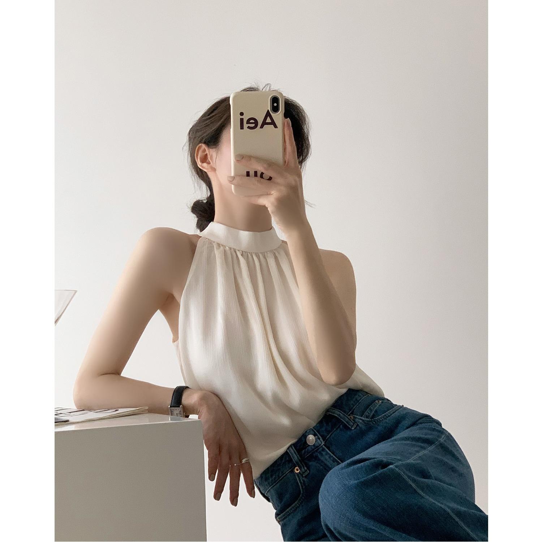 Sleeveless Top Women's 2021 Summer Design Sense Beautiful Shoulder French Neck Vest