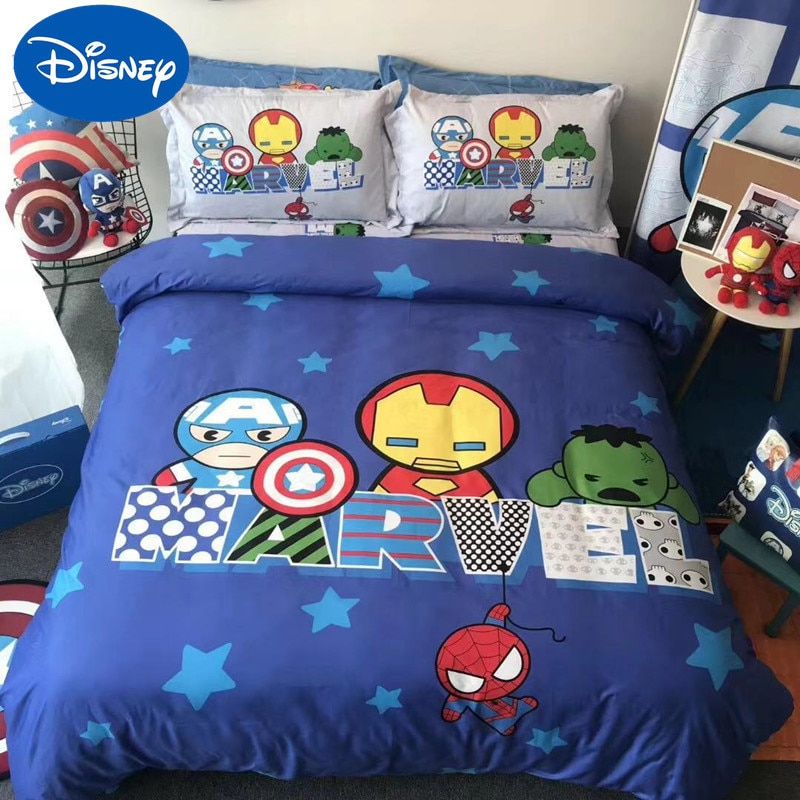 Disney children's four-piece cotton boy room cartoon Marvel bedding cotton dormitory bed linen girl princess three-piece