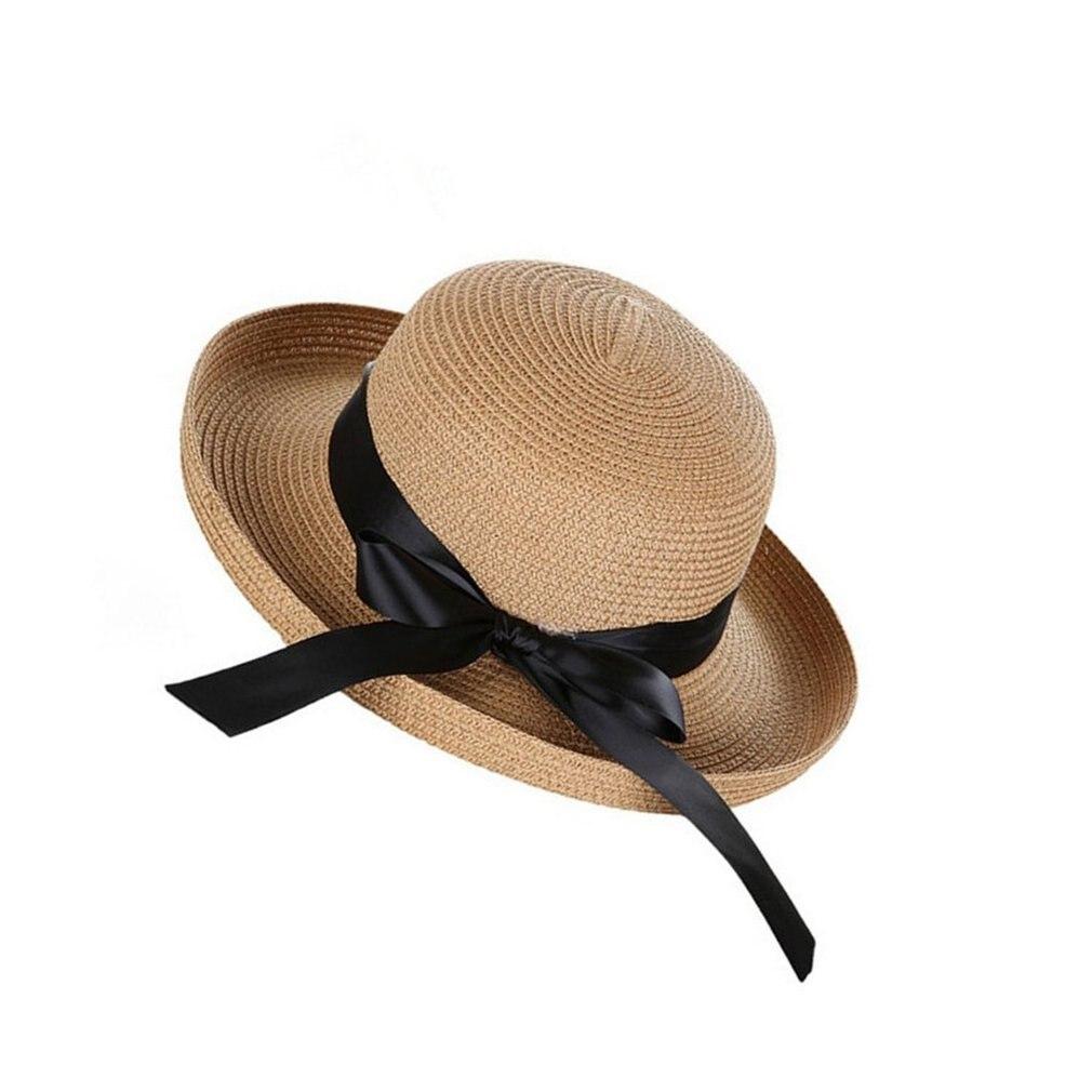 2018 Stylish Women Summer Sun Hat  Straw Bow Tie Beach Hat Fashion Vintage Cap UV Protection Lady Girls Caps
