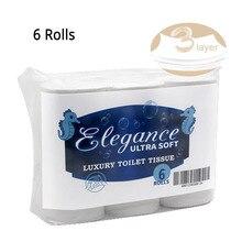 6 rolos de papel higiénico 3 camadas de papel toalhas de mão do banheiro casa rolo tecido de papel