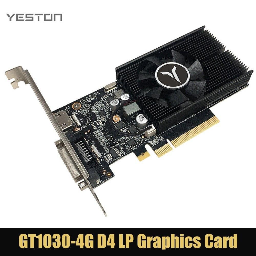 Yeston GT1030 64 بت 4 جيجابايت DDR4 بطاقة جرافيكس GP108 PCI Express 3.0x4 DVI-D ألعاب فيديو بطاقة GPU للتعدين Windows7/8/10 BTC