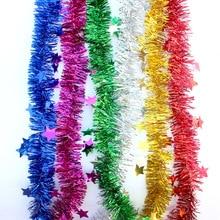 2 m 금속 호 일 스타 등나무 반짝이 갈 랜드 크리스마스 트리 장식품 골드 실버 와이어 반짝이 갈 랜드 파티 장식