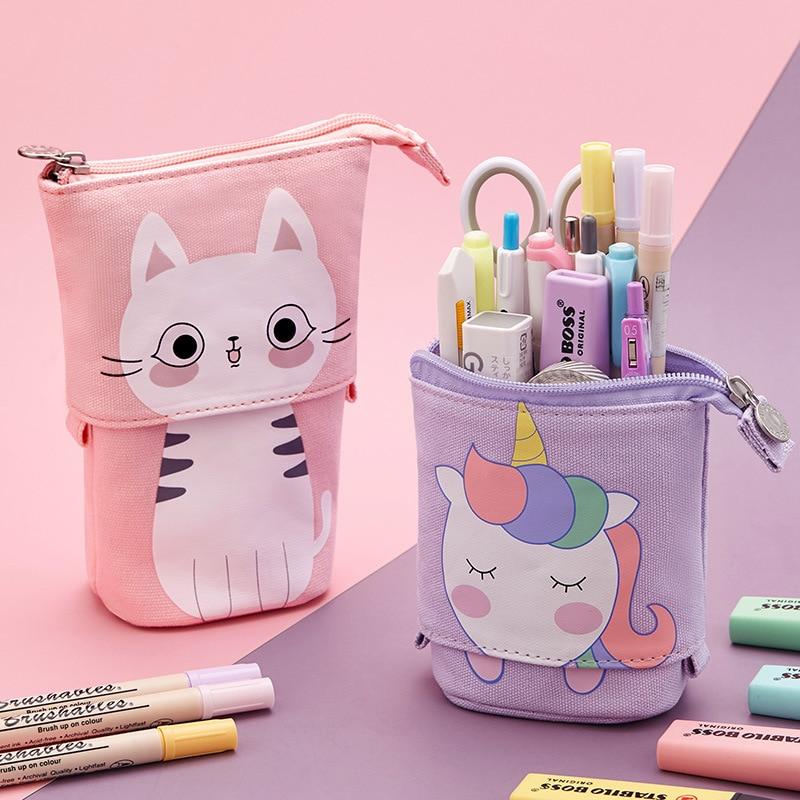 Creative Retractable cat pencil case school stationery bag Kawaii Pencil cases canvas big cute pen h