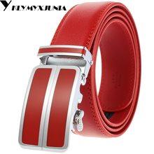 Men Automatic Buckle Belt Male Girdle Waistband Men Fashion Men Leather Belt lendth:110-125cm,width:3.5cm red\white\black\blue