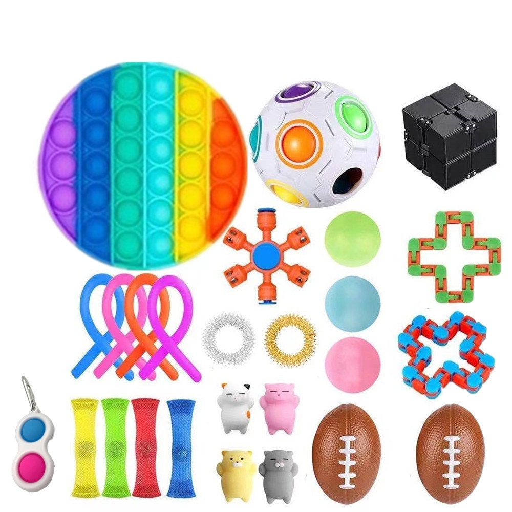 26 Pack Children Anti Stress Relief Fidget Toy Set Magic Puzzle Ball Autism Sensory Antistress Toys For Adults Gift