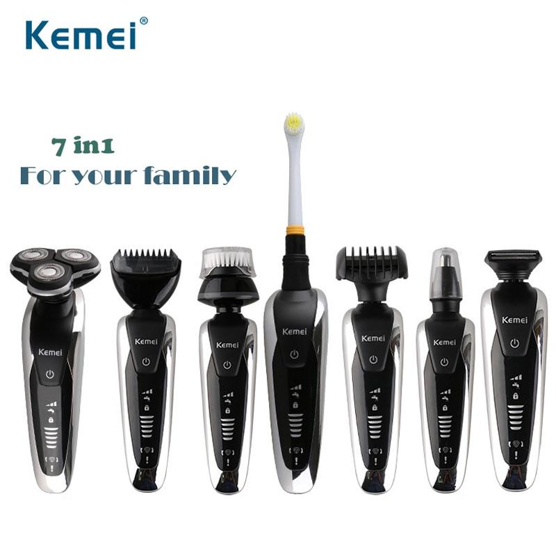 7 In 1 elektrikli tıraş makinesi şarj edilebilir sakal düzeltici çok fonksiyonlu tıraş makinesi profesyonel Barbeador jilet diş fırçası 43D
