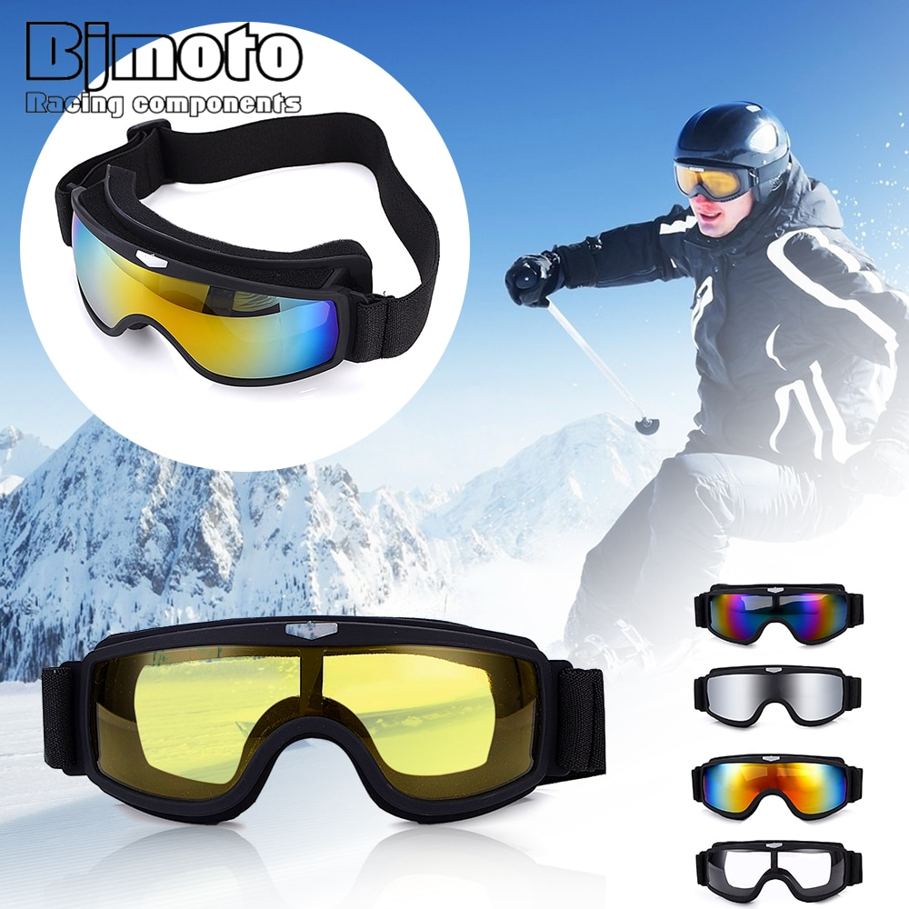 BJMOTO Universal Vintage Motorcycle Goggles Motorbike Scooter Biker Glasses Motocross Goggle Foldable Helmet Eyewear