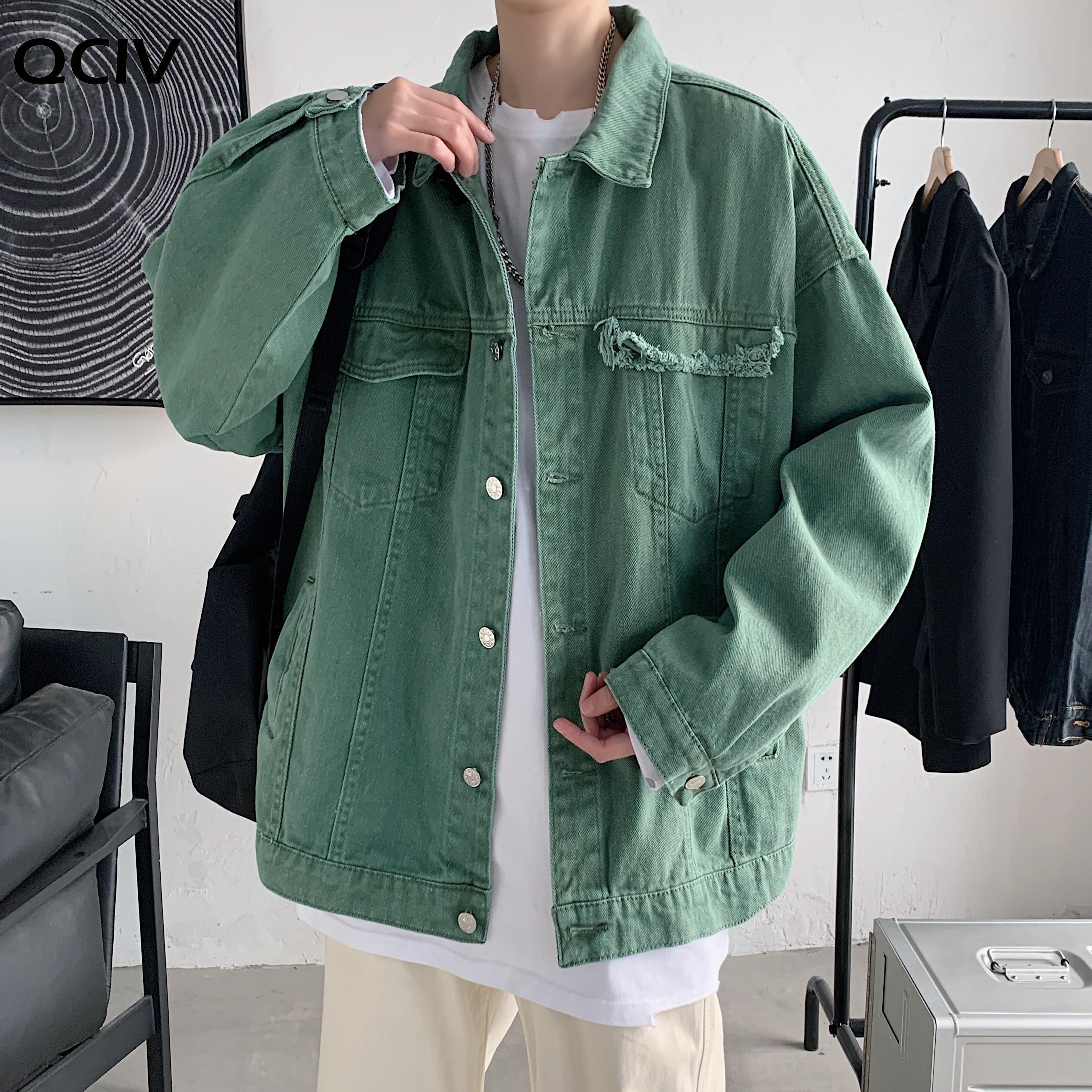 Spring Autumn Men Denim Jackets Korean Solid Hole Streetwear Leisure Jean Jacket Khaki/Black/Army green Fashion Jeans Coat