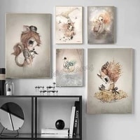 room decor canvas painting animals ears cartoon art poster modern home children bedroom picture printing wall stickers