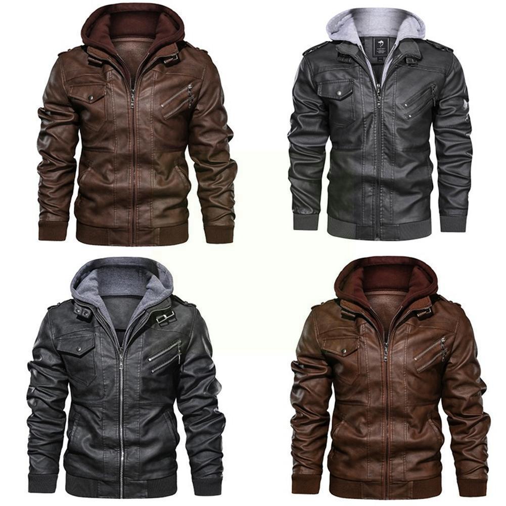 Кожаные куртки мужские куртки приталенные Куртки из искусственной кожи на молнии мужские куртки осенние черные куртки мужские кожаные кур...