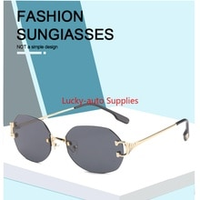 2021 New Frameless Oval Cut-edge Sunglasses for Men and Women Trendy Transparent European and Americ