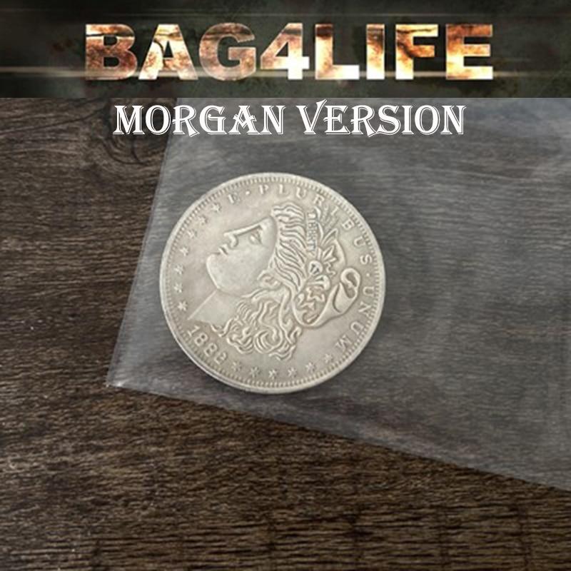 Bag4Life (1 Morgan Dollar and DVD) Magic Tricks Close Up Street Illusions Gimmick Prop Named Coin Thru Clear Plastic Bag Magica