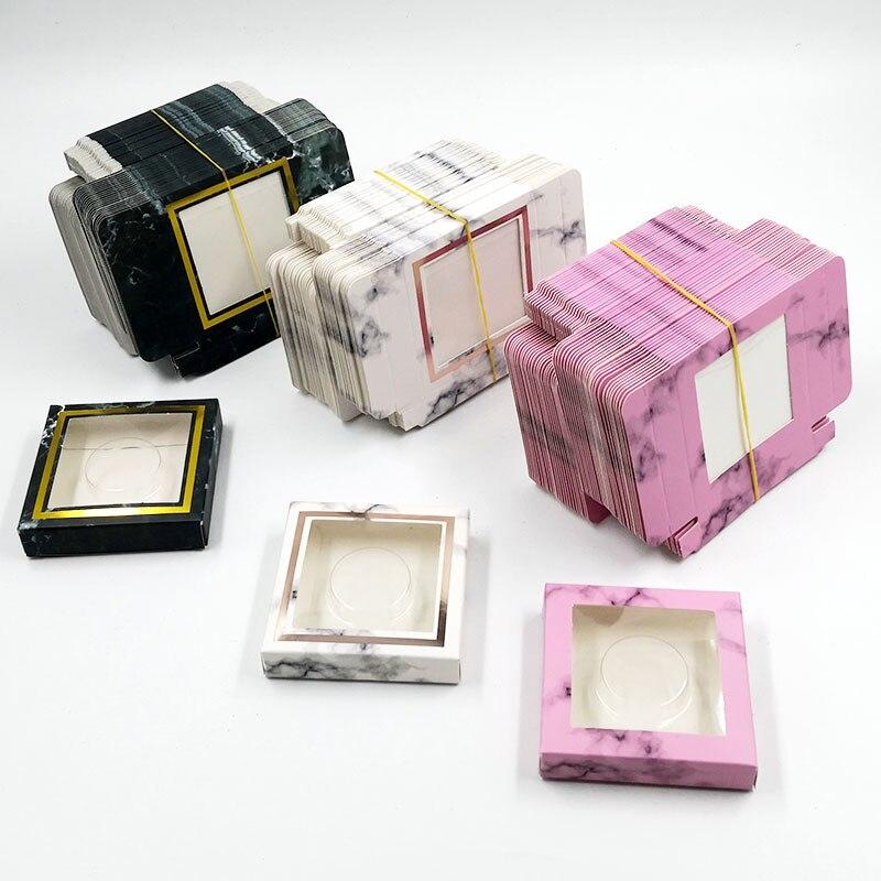 En gros papier cils emballage boîte cils boîtes emballage personnalisé propre logo pour 10mm-25mm vison cils boîte carrée en vrac