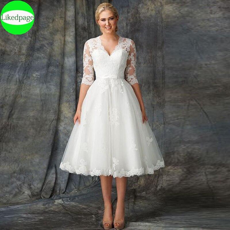 Vestido De Novia Corto De encaje para mujer, traje De boda Corto,...